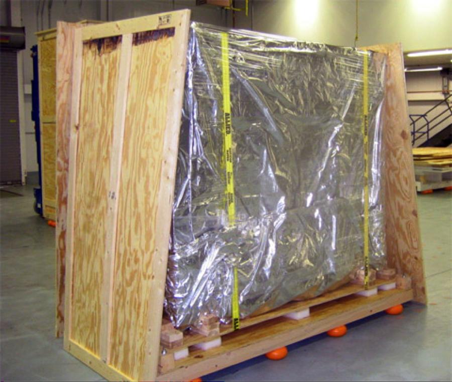 Skidmate crate mitigating vibration during transport