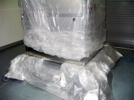 Cleanroom Tour - Cover with polyethylene shroud