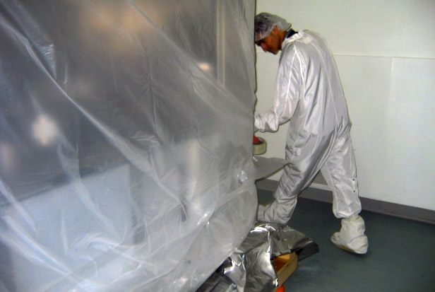 Cleanroom Tour - Tape and Seal base sheet to shroud